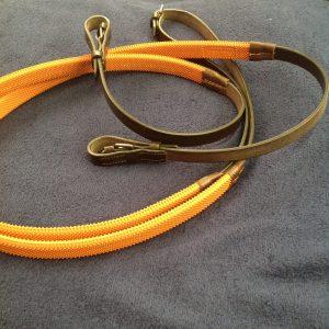 leather reins, orange grip