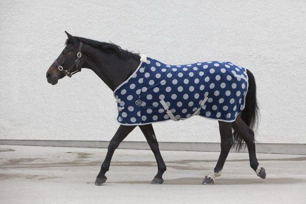 fleece, luxury, horsewear, luxury blue spotted fleece sheet, fleece sheets, spotty blue fleece