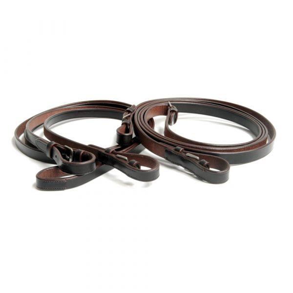 chukka polo reins, leather, full grain leather, havanna, black, horse tack, polo games, equestrian polo,