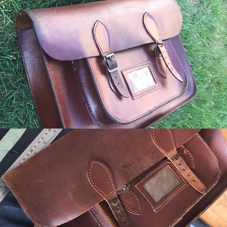 satchel, repair, leather repair, leathwork, newmarket stablecare, stablecare, hand stitching,