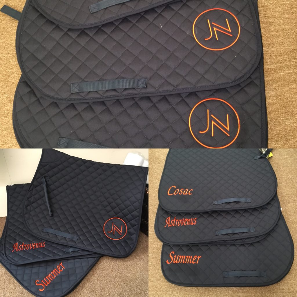saddle cloths, embroidered saddlecloths,stablecare, equestrian, equine, personlised saddlepads, personlised numnahs