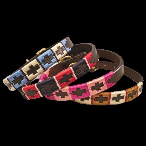 dog collar, leather dog collar, polo style dog collar